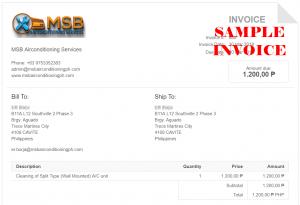 MSB Sample Invoice
