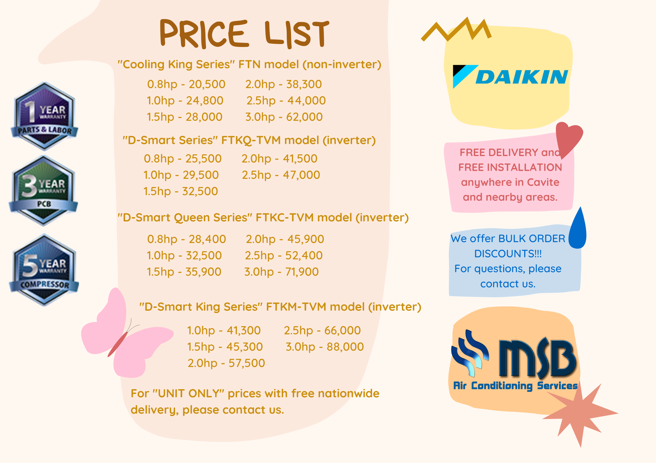 Daikin aircon price list